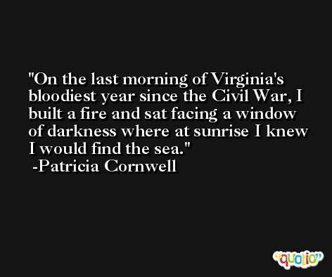 On the last morning of Virginia's bloodiest year since the Civil War, I built a fire and sat facing a window of darkness where at sunrise I knew I would find the sea. -Patricia Cornwell