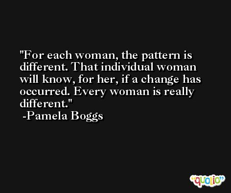 For each woman, the pattern is different. That individual woman will know, for her, if a change has occurred. Every woman is really different. -Pamela Boggs