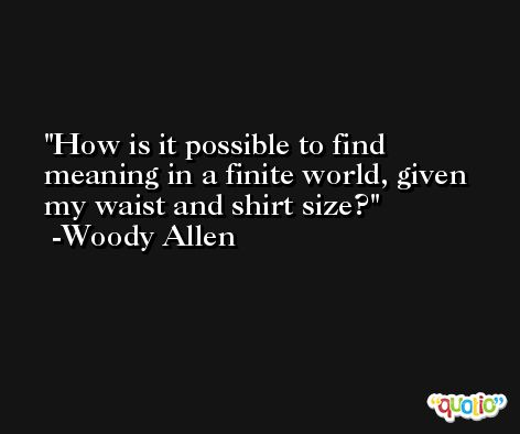 How is it possible to find meaning in a finite world, given my waist and shirt size? -Woody Allen