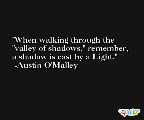 When walking through the 'valley of shadows,' remember, a shadow is cast by a Light. -Austin O'Malley