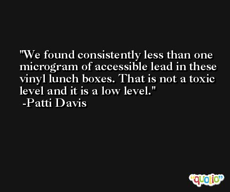 We found consistently less than one microgram of accessible lead in these vinyl lunch boxes. That is not a toxic level and it is a low level. -Patti Davis