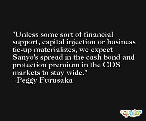 Unless some sort of financial support, capital injection or business tie-up materializes, we expect Sanyo's spread in the cash bond and protection premium in the CDS markets to stay wide. -Peggy Furusaka