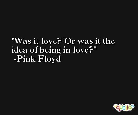 Was it love? Or was it the idea of being in love? -Pink Floyd