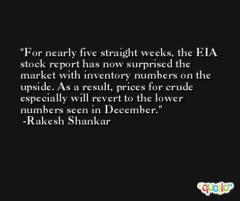 For nearly five straight weeks, the EIA stock report has now surprised the market with inventory numbers on the upside. As a result, prices for crude especially will revert to the lower numbers seen in December. -Rakesh Shankar