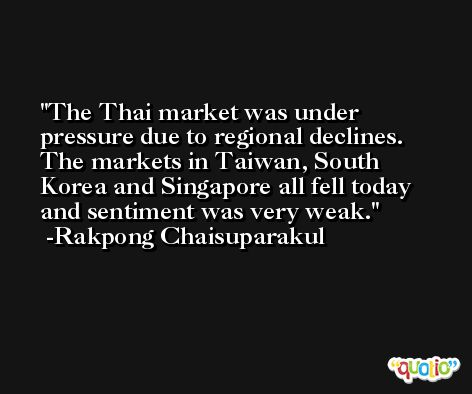 The Thai market was under pressure due to regional declines. The markets in Taiwan, South Korea and Singapore all fell today and sentiment was very weak. -Rakpong Chaisuparakul