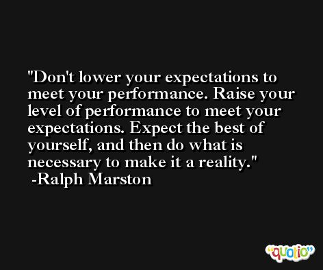 Don't lower your expectations to meet your performance. Raise your level of performance to meet your expectations. Expect the best of yourself, and then do what is necessary to make it a reality. -Ralph Marston