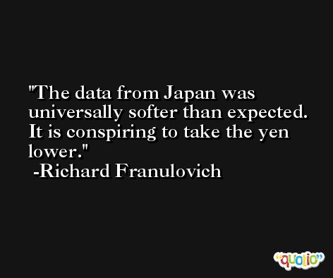 The data from Japan was universally softer than expected. It is conspiring to take the yen lower. -Richard Franulovich