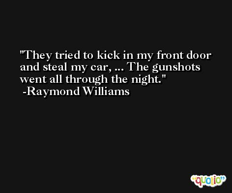 They tried to kick in my front door and steal my car, ... The gunshots went all through the night. -Raymond Williams