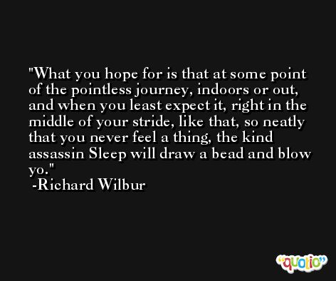 What you hope for is that at some point of the pointless journey, indoors or out, and when you least expect it, right in the middle of your stride, like that, so neatly that you never feel a thing, the kind assassin Sleep will draw a bead and blow yo. -Richard Wilbur