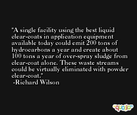 A single facility using the best liquid clear-coats in application equipment available today could emit 200 tons of hydrocarbons a year and create about 100 tons a year of over-spray sludge from clear-coat alone. These waste streams could be virtually eliminated with powder clear-coat. -Richard Wilson