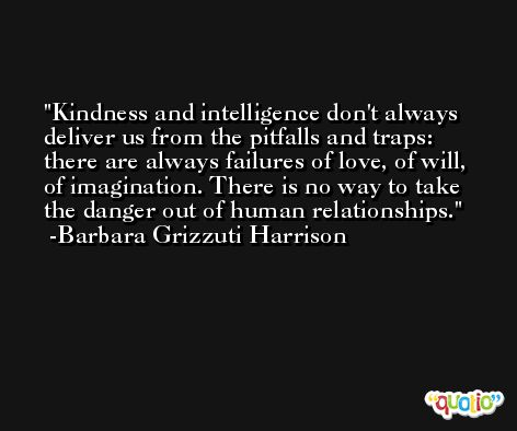Kindness and intelligence don't always deliver us from the pitfalls and traps: there are always failures of love, of will, of imagination. There is no way to take the danger out of human relationships. -Barbara Grizzuti Harrison
