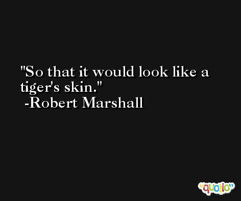 So that it would look like a tiger's skin. -Robert Marshall