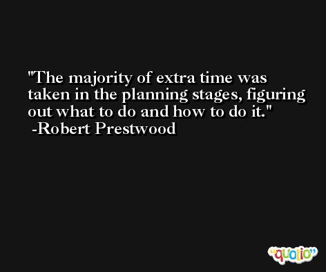 The majority of extra time was taken in the planning stages, figuring out what to do and how to do it. -Robert Prestwood