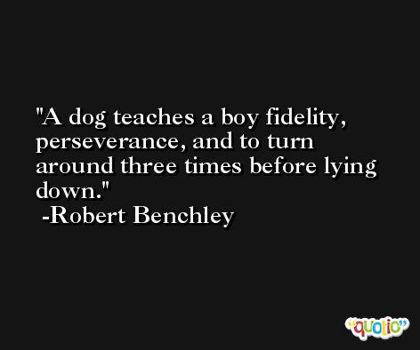 A dog teaches a boy fidelity, perseverance, and to turn around three times before lying down. -Robert Benchley