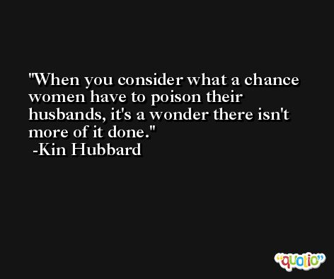 When you consider what a chance women have to poison their husbands, it's a wonder there isn't more of it done. -Kin Hubbard