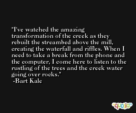 I've watched the amazing transformation of the creek as they rebuilt the streambed above the mill, creating the waterfall and riffles. When I need to take a break from the phone and the computer, I come here to listen to the rustling of the trees and the creek water going over rocks. -Bart Kale