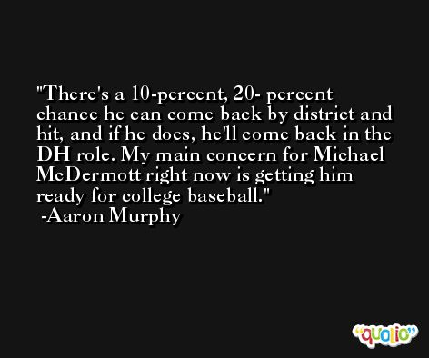There's a 10-percent, 20- percent chance he can come back by district and hit, and if he does, he'll come back in the DH role. My main concern for Michael McDermott right now is getting him ready for college baseball. -Aaron Murphy