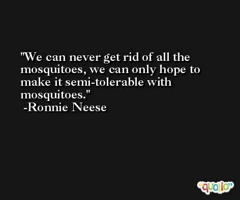 We can never get rid of all the mosquitoes, we can only hope to make it semi-tolerable with mosquitoes. -Ronnie Neese