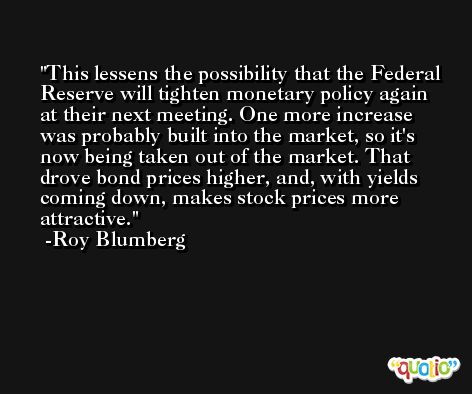 This lessens the possibility that the Federal Reserve will tighten monetary policy again at their next meeting. One more increase was probably built into the market, so it's now being taken out of the market. That drove bond prices higher, and, with yields coming down, makes stock prices more attractive. -Roy Blumberg