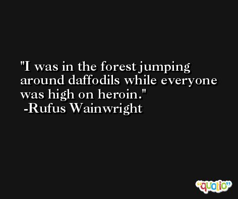 I was in the forest jumping around daffodils while everyone was high on heroin. -Rufus Wainwright