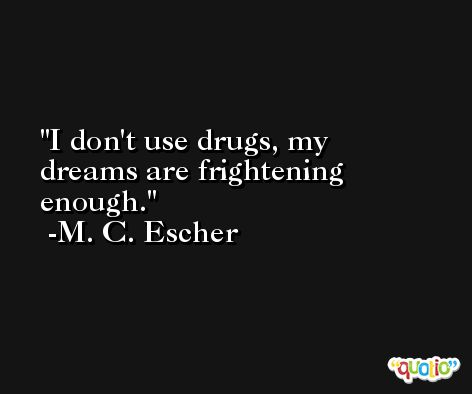 I don't use drugs, my dreams are frightening enough. -M. C. Escher