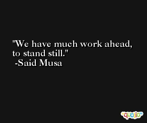 We have much work ahead, to stand still. -Said Musa