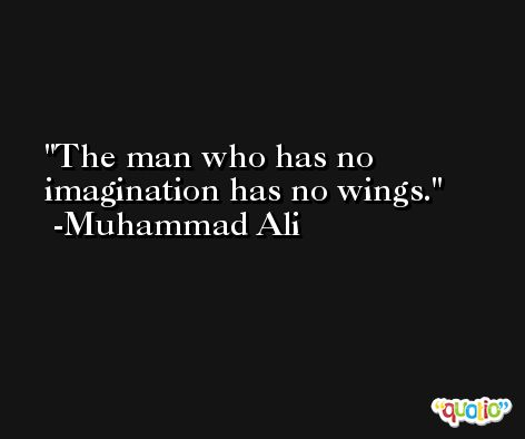 The man who has no imagination has no wings. -Muhammad Ali