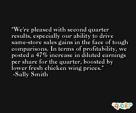 We're pleased with second quarter results, especially our ability to drive same-store sales gains in the face of tough comparisons. In terms of profitability, we posted a 47% increase in diluted earnings per share for the quarter, boosted by lower fresh chicken wing prices. -Sally Smith