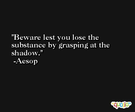 Beware lest you lose the substance by grasping at the shadow. -Aesop