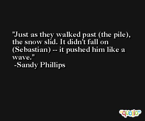 Just as they walked past (the pile), the snow slid. It didn't fall on (Sebastian) -- it pushed him like a wave. -Sandy Phillips