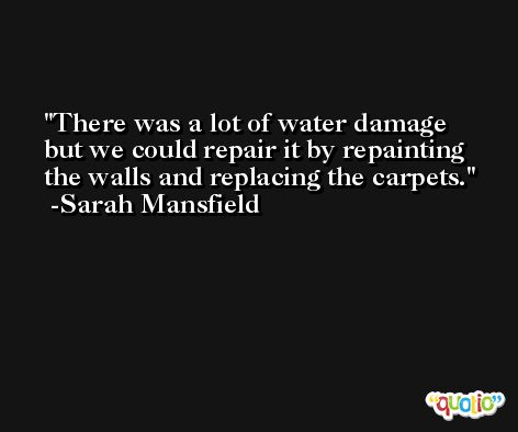 There was a lot of water damage but we could repair it by repainting the walls and replacing the carpets. -Sarah Mansfield