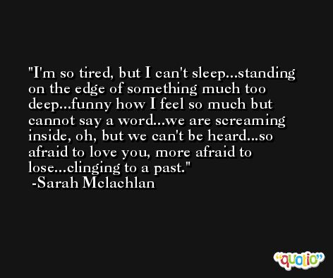 I'm so tired, but I can't sleep...standing on the edge of something much too deep...funny how I feel so much but cannot say a word...we are screaming inside, oh, but we can't be heard...so afraid to love you, more afraid to lose...clinging to a past. -Sarah Mclachlan