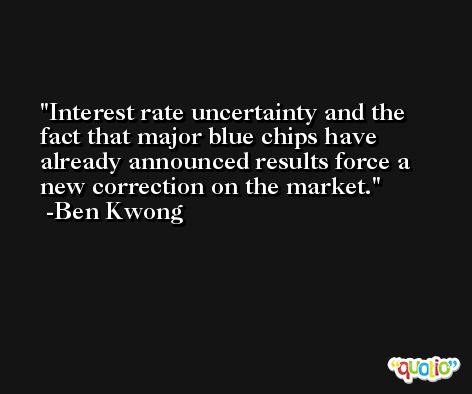 Interest rate uncertainty and the fact that major blue chips have already announced results force a new correction on the market. -Ben Kwong