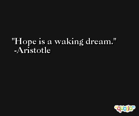 Hope is a waking dream. -Aristotle