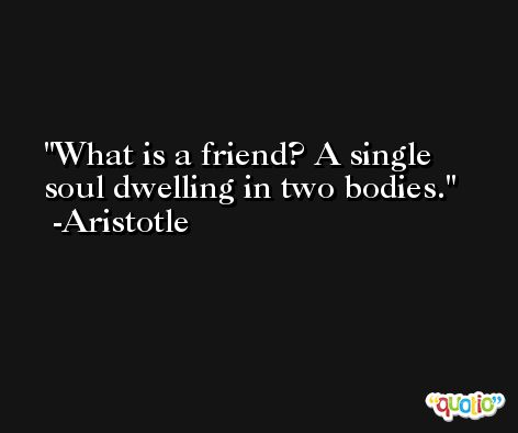 What is a friend? A single soul dwelling in two bodies. -Aristotle
