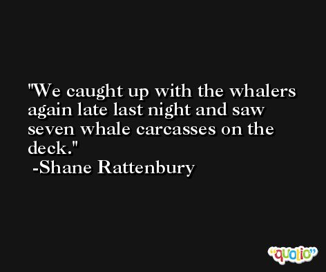 We caught up with the whalers again late last night and saw seven whale carcasses on the deck. -Shane Rattenbury