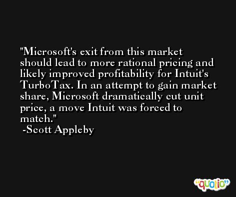 Microsoft's exit from this market should lead to more rational pricing and likely improved profitability for Intuit's TurboTax. In an attempt to gain market share, Microsoft dramatically cut unit price, a move Intuit was forced to match. -Scott Appleby