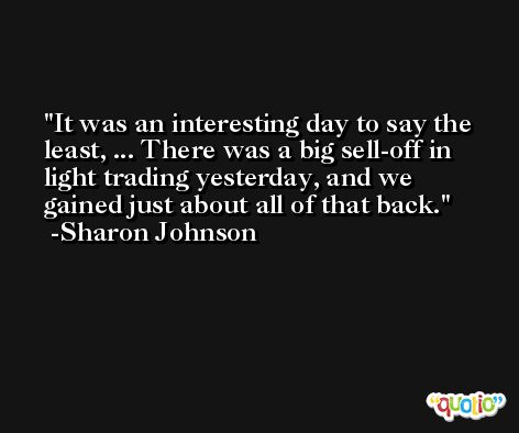 It was an interesting day to say the least, ... There was a big sell-off in light trading yesterday, and we gained just about all of that back. -Sharon Johnson