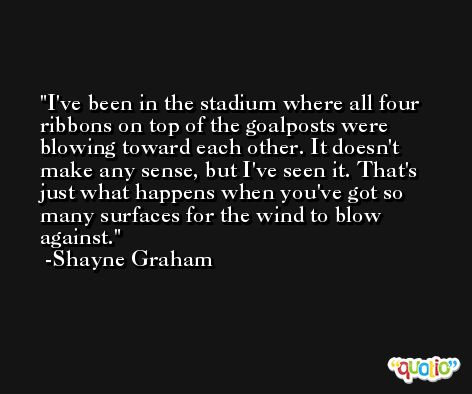 I've been in the stadium where all four ribbons on top of the goalposts were blowing toward each other. It doesn't make any sense, but I've seen it. That's just what happens when you've got so many surfaces for the wind to blow against. -Shayne Graham
