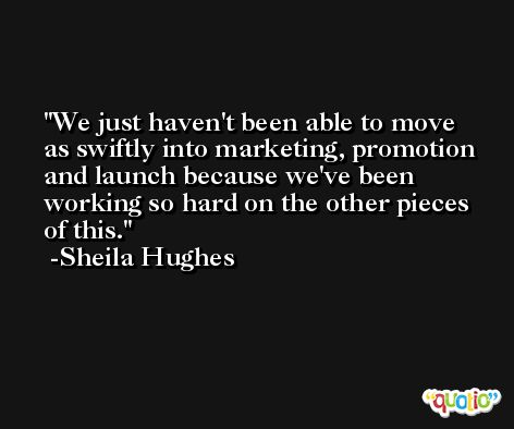 We just haven't been able to move as swiftly into marketing, promotion and launch because we've been working so hard on the other pieces of this. -Sheila Hughes
