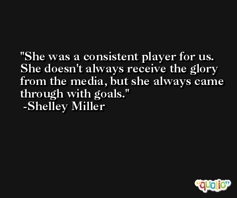 She was a consistent player for us. She doesn't always receive the glory from the media, but she always came through with goals. -Shelley Miller