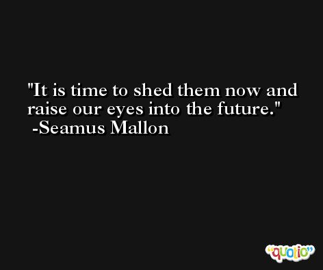 It is time to shed them now and raise our eyes into the future. -Seamus Mallon