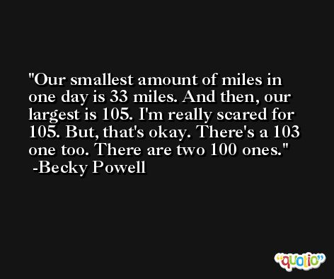 Our smallest amount of miles in one day is 33 miles. And then, our largest is 105. I'm really scared for 105. But, that's okay. There's a 103 one too. There are two 100 ones. -Becky Powell