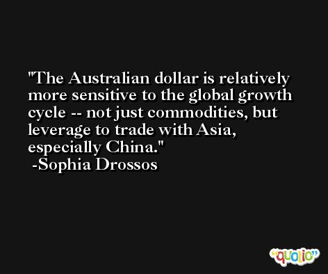 The Australian dollar is relatively more sensitive to the global growth cycle -- not just commodities, but leverage to trade with Asia, especially China. -Sophia Drossos
