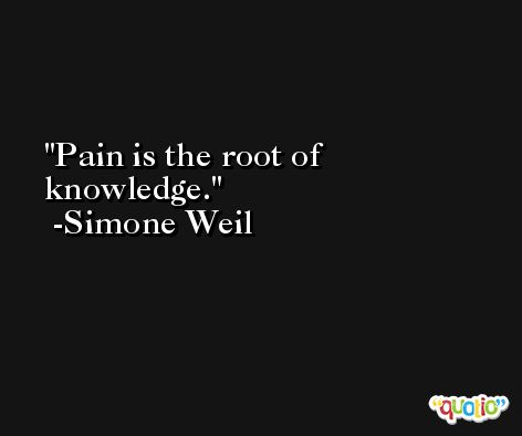 Pain is the root of knowledge. -Simone Weil