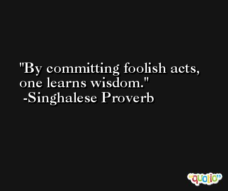By committing foolish acts, one learns wisdom. -Singhalese Proverb