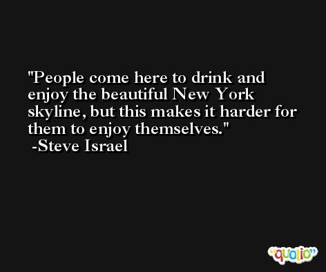 People come here to drink and enjoy the beautiful New York skyline, but this makes it harder for them to enjoy themselves. -Steve Israel