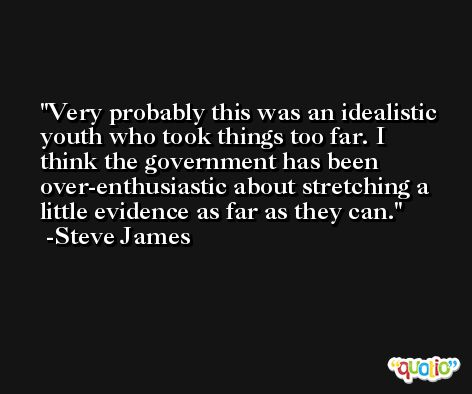 Very probably this was an idealistic youth who took things too far. I think the government has been over-enthusiastic about stretching a little evidence as far as they can. -Steve James