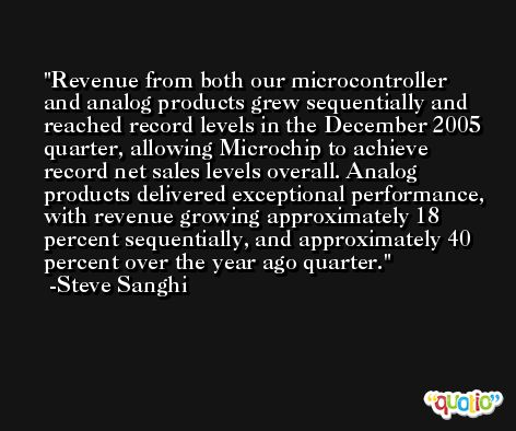Revenue from both our microcontroller and analog products grew sequentially and reached record levels in the December 2005 quarter, allowing Microchip to achieve record net sales levels overall. Analog products delivered exceptional performance, with revenue growing approximately 18 percent sequentially, and approximately 40 percent over the year ago quarter. -Steve Sanghi