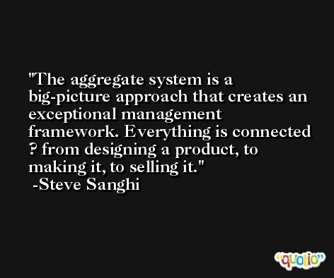 The aggregate system is a big-picture approach that creates an exceptional management framework. Everything is connected ? from designing a product, to making it, to selling it. -Steve Sanghi